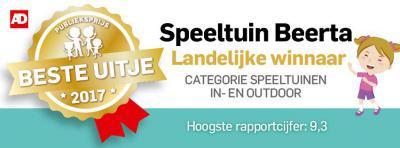 Speeltuin 't Speulparadies in Beerta heeft de AD-Publieksprijs Beste Uitje van Nederland 2017 in de categorie speeltuinen in- en uitdoor gewonnen. Ze hadden het hoogste rapportcijfer: een 9,3. Van harte gefeliciteerd! De inwoners zijn er terecht trots op.