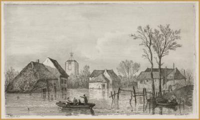 Bij een hevige vloed in 1855 braken de dijken bij Beesd.