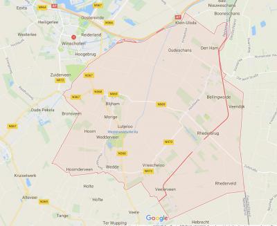 De gemeente Bellingwedde (het roze geaccentueerde gebied op de kaart) is in 1968 ontstaan uit fusie van de gemeenten Bellingwolde en Wedde. In 2018 is de gemeente met de Z buurgemeente Vlagtwedde gefuseerd tot de nieuwe gemeente Westerwolde. (© Google)
