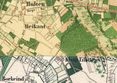 Tot begin 20e eeuw liggen de buurtschappen Berkeind, Heikant, Hulten en Klein Tilburg nog als een 'nestje' bij elkaar. Door en na de bouw van de kerk in Hulten in 1914 is die kern naar het NW, rond de Rijksweg, verplaatst. (© www.kadaster.nl)