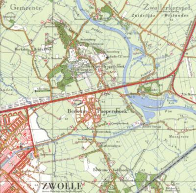 Op deze kaart uit ca. 1960 is nog sprake van de buurtschappen Berkum-Brinkhoek, -Veldhoek, -Bruggenhoek en -Poepershoek. Enkele jaren later, vermoedelijk na de herindeling van 1966, is Poepershoek van de kaart verdwenen en heet sindsdien 'gewoon' Berkum.
