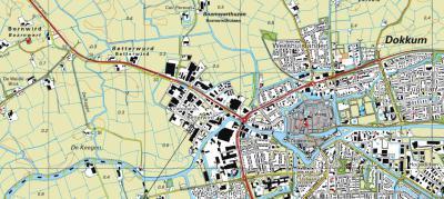 Huidige situatie: Dokkum heeft sinds de jaren zeventig het O deel van buurtschap Betterwird ingepikt en er het gelijknamige bedrijventerrein gerealiseerd. Sindsdien is alleen het W deel van de buurtschap nog over. (© Kadaster)