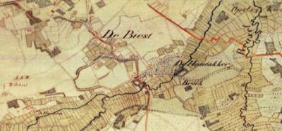 Op deze militaire kaart, uit 1861, is goed te zien dat Biest en Houtakker oorspronkelijk twee  buurtschappen zijn. Pas begin 20e eeuw groeien zij aaneen tot één dorp door de bouw van kerk en school tussen de buurtschappen in.
