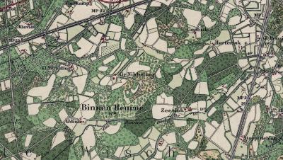 Tot ca. 1930 wordt de buurtschap Binnenheurne op kaarten gespeld als Binnen Heurne. Sindsdien wordt de naam op kaarten als een woord gespeld. (© Kadaster)