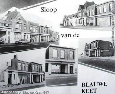 Blauwe Keet, collage van de afbraak van de lintbebouwing in 1987