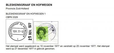 Eind 1977 besluiten gemeente en/of PTT om in het nieuwe postcodeboek als plaatsnaam de gemeentenaam te gaan hanteren. In het postcodeboek is dat 'Bleskensgraaf c.a.', in de stempels 'Bleskensgraaf en Hofwegen'. Wat daar de logica van is, ontgaat ons...