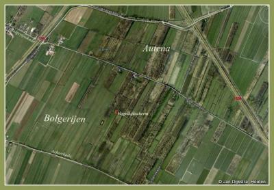 Polders Bolgerijen en Autena, met de plaats van het vogelkijkscherm