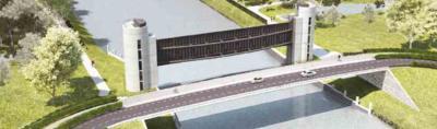 Artist impression van de nieuwe Keersluis Limmel, die in 2018 gereed komt. Het wordt straks één grote 'schuif' i.p.v. de twee van nu, waardoor bredere schepen erdoor kunnen zonder dat het kanaal hoeft te worden verbreed. Slim hè? (©www.rijkswaterstaat.nl)