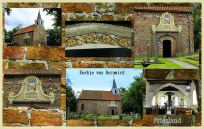 collage van het exterieur en het interieur van het kerkje van Bornwird (© Jan Dijkstra, Houten)