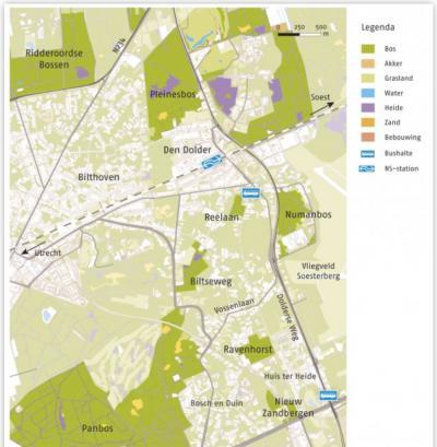 Kaartje van de natuurgebieden van Utrechts Landschap rond Bosch en Duin. Het betreft met name het Numanbos, Ravenhorst,  Nieuw Zandbergen en de terreinen Biltseweg en Reelaan. (© www.utrechtslandschap.nl)