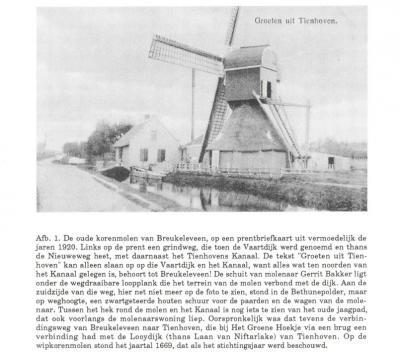 Omdat de locatie best een eindje van de kern van Breukeleveen vandaan ligt, richting Tienhoven, werd de molen soms ten onrechte beschreven als gelegen te Tienhoven. De grens loopt er door de weg. Maar de molen viel toch echt nog onder Breukeleveen!