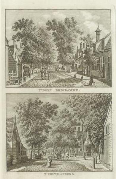 Kopergravure van Brigdamme door Karel Fredrik Bendorp, tekenaar Jan Bulthuis, uitgegeven in 1793 in 'Vaderlandsche gezigten, naar het leven geteekend door Bulthuis, en in het koper gebracht door K.F. Bendorp'.
