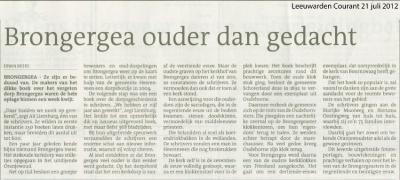Recensie van het in 2012 verschenen boek 't Gea van Brongergea in de Leeuwarder Courant