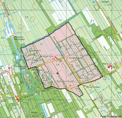 Het boek over Brongergea beschrijft alleen het gebied tussen de huidige dorpen De Knipe, Katlijk, Mildam en Oranjewoud. Dat is echter wel de oudste historische kern van Brongergea. Het betreft het roze gearceerde gebied op dit kaartje.