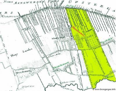 Het oude Brongergea liep in het Z tot de Tjonger en in het N tot de huidige Compagnonsvaart. De W grens liep langs en in het verlengde van de Flapsingel en in het O liep de grens langs de bossen van Pauwenburg. Zie hier op de Schotanuskaart van 1698.