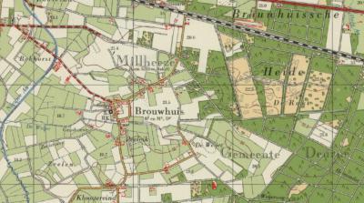 Op deze kaart uit, ca. 1960, is goed te zien dat de oude dorpskern van Brouwhuis nog net onder de gemeente Bakel en Milheeze viel. Het gebied direct Z ervan was gemeente Vlierden, sinds 1926 gemeente Deurne. De grens liep door de waterloop de Weijer.