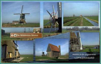 Cabauw, de molen alhier staat onder drie namen bekend: Cabauwse Molen, Tweede Molen en Middelste Molen... (© Jan Dijkstra, Houten)