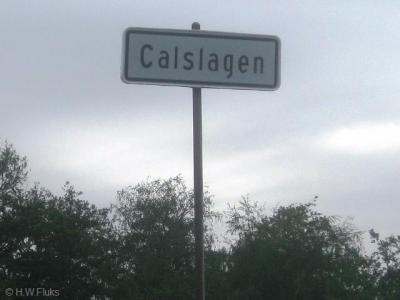 Calslagen, de voormalige gemeente Kalslagen is in 1854 over drie gemeenten verdeeld en ter plekke alleen nog herkenbaar aan dit plaatsnaambordje