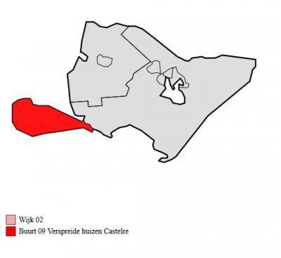 Op deze kaart kun je duidelijk zien waarom kunstenaar-reiziger Rolf Weijburg voor dit type plaatsen de term 'schierenclave' heeft bedacht; Castelré zit maar aan één - en ook nog smalle - zijde vast aan de rest van de gem. Baarle-Nassau. (© Wikipedia)
