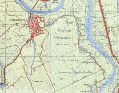 Buurtschap Cellemuiden valt t/m 31-7-1967 deels onder de gemeente Genemuiden, deels onder de gemeente Zwollerkerspel, zoals op deze kaart is te zien. De stippellijn is de gemeentegrens. W ervan is gemeente Genemuiden, O en Z ervan is gem. Zwollerkerspel.