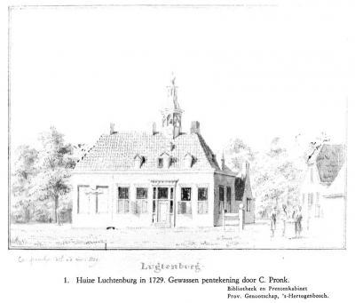 Dé 'parel'`van buurtschap Couwelaar is het imposante landgoed Luchtenburg, met o.a. het gelijknamige huis, hier afgebeeld op een pentekening uit 1729.