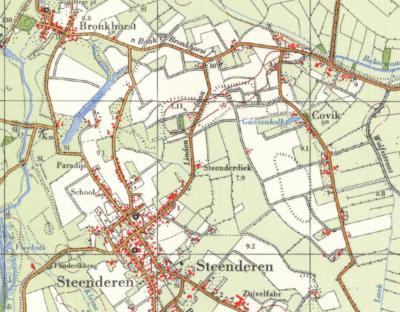 In alle atlassen van medio 19e eeuw tot ca. 1970 wordt de buurtschap Covik, O van Steenderen, keurig als plaatsnaam vermeld (rechtsboven)