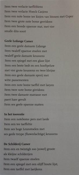 Croy, pas in 1804 kreeg Nederland een vastgestelde spelling. Daarvóór schreef men alles maar op zoals men dacht dat het goed was. Op deze inventarislijst van het interieur van Kasteel Croy, uit 1737, zie je verschillende spellingen voor hetzelfde object.