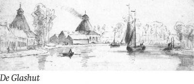 Rond 1870 heeft P.J. Lutgers de arbeiderswoningen van buurtschap De Glashut vastgelegd in een potloodschets. Dit is een van de weinige afbeeldingen waarop de opvallende glasovens te zien zijn. Ook is te zien dat er toen veel meer bebouwing stond dan nu.