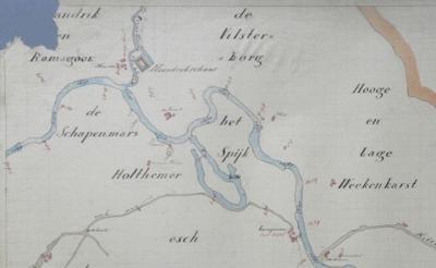 Rond 1800 is er in buurtschap De Haandrik sprake geweest van een Haandrikschans. Op deze kaart is dat goed te zien. Helaas zijn er in het huidige landschap geen sporen meer van te ontdekken.
