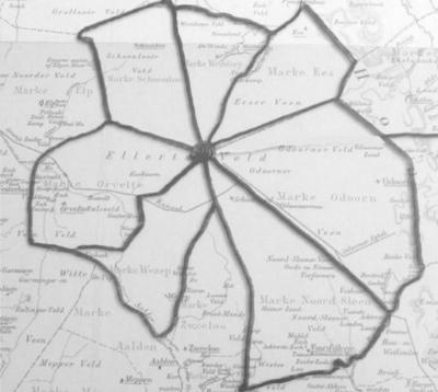 In de Dorpsvisie staat deze mooie kaart, waarop goed is te zien welke zeven marken vroeger ter hoogte van De Kiel aan elkaar grensden.