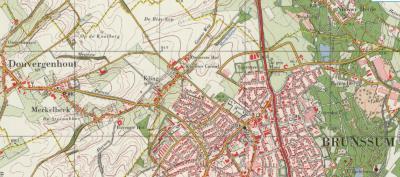 Buurtschap De Kling, hier op een kaart uit ca. 1980, was vanouds grotendeels gemeente Merkelbeek, deels gemeente Brunssum. De gele lijn is de gemeentegrens. Bij de gemeentelijke herindelingen van 1982 is De Kling grotendeels gem. Brunssum geworden.