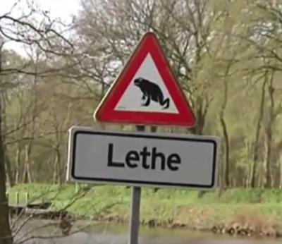 Buurtschap De Lethe wordt overal zo gespeld, met lidwoord dus, behalve - tot 17-9-2015 - op de plaatsnaamborden... En in veel buurtschappen word je gemaand uit te kijken voor overstekende kinderen. In De Lethe moet je uitkijken voor overstekende padden...