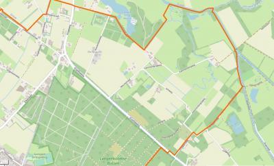 Buurtschap De Maurik ligt in het uiterste ZO van het dorpsgebied van het dorp Langenboom, rond de Maurikstraat, Venweg en Kammerbergweg. De positie van de plaatsnaam op deze kaart klopt niet; die staat hier te ver naar het W. (© www.openstreetmap.org)