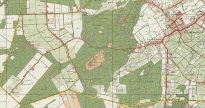 Buurtschap De Pielis op een kaart uit de jaren zestig, toen nog maar net ontgonnen van 'woeste' bos- en heidegrond naar landbouwgebied. De dikke gele lijn is de grens met België, de dunne gele lijn is de grens tussen Weebosch' en Luyksgestels grondgebied.