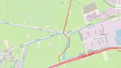 Buurtschap De Poffert ligt direct W van Groningen en Hoogkerk, op een splitsing van wegen, waterwegen en (deels vroegere) gemeentegrenzen. Het kleine buurtschapje valt daardoor nog altijd onder 2 gemeenten en 3 dorpen. (© www.openstreetmap.org)