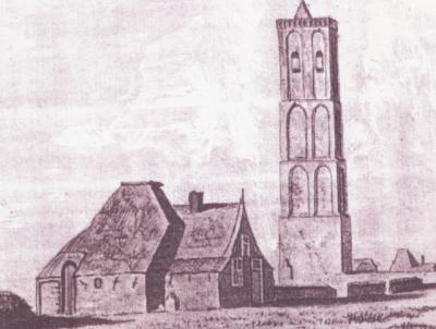 De Westen, de in 1859 afgebroken kerktoren (de kerk was al eerder vervallen en afgebroken), met daarnaast het nog altijd bestaande Torenhuis uit 1578. Maker en jaar van deze tekening zijn ons niet bekend.