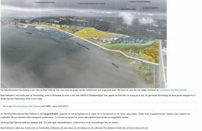 """Hotel Schylge had uitbreidingsplannen die """"de natuur in de baai volledig zou vernielen"""", volgens Stichting Natuurherstel Baai Dellewal, die zich inzet voor een alternatief plan: 'Natuurboulevard Terschelling', dat recht doet aan dit waardevolle landschap."""