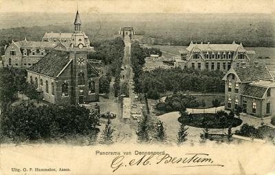 Panoramafoto Dennenoord, ca. 1910, linksvoor de Stichtingskerk, linksachter Lagerhout (pav. 10), daarachter oud Eikenstein (pav. 14), achteraan de hoofdlaan de Vijverberg, rechtsboven Ruimzicht (pav. 18) en rechtsvoor de eerste woning van de directeur.