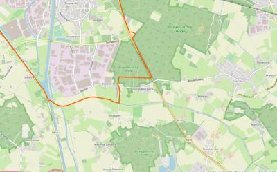 De buurtschap is verdeeld in de delen Voorste en Achterste Diesdonk, en ligt Z van de Helmondse wijk (voorheen dorp) Brouwhuis en Bedrijventerrein Zuid Oost Brabant (BZOB). (© www.openstreetmap.org)