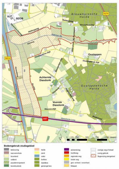 De in 2014 gerealiseerde Waterberging Diesdonk (= het rood omlijnde gebied) heeft een omvang van 139 hectare en kan in tijden van hoog water tijdelijk ruim 1 miljoen m3 water bergen, waardoor men in de omgeving 'droge voeten' houdt. (© www.aaenmaas.nl)