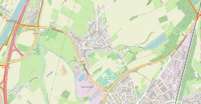 Het dorp Dieteren ligt NW van Susteren en grenst in het W aan Oud-Roosteren en de A2, in het ZW en Z aan de N296 (Maaseikerweg) en in het ZO en O aan de N276 (Oude Rijksweg Noord). (© www.openstreetmap.org)