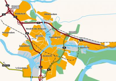 Kaart van de regio Drechtsteden. Uiterlijk in 2018 komt de gemeente Hardinxveld-Giessendam (gelegen O van Sliedrecht) er ook nog bij. (© www.rom-d.nl)