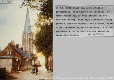 Driehuis, ca. 1910, de RK kerk H. Johannes de Doper, met op de voorgrond de drie huisjes die hun naam aan de buurtschap hebben gegeven. Op die plek staat tegenwoordig zorgcentrum Gerardus Majella.
