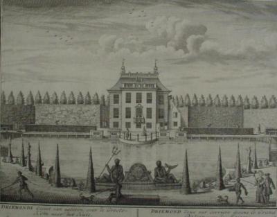 Tekening uit ca. 1700 van het niet meer bestaande Huis Driemond, waar het huidige dorp naar genoemd is.