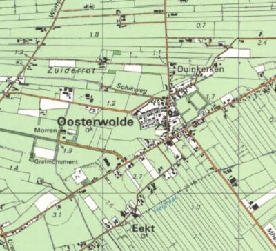 Tot ca. 1990 komt de plaatsnaam Duinkerken nog op kaarten voor. Sindsdien is deze plaatsnaam zomaar 'uitgegumd'. Wat ons betreft ten onrechte, want de bebouwing is er nog gewoon, dús bestaat de buurtschap ook nog altijd. (© Kadaster)