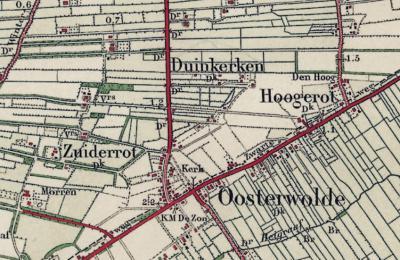 Vanaf ca. 1870 verschijnt de plaatsnaam Duinkerken bij Oosterwolde (GL) op kaarten (de aanduiding 'Dk' onder de plaatsnamen betekent 'gemeente Doornspijk'). Als iemand weet wat daar de aanleiding voor was, houden wij ons aanbevolen. (© Kadaster)
