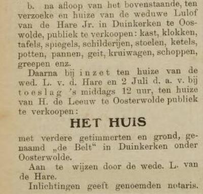 Op het internet is helaas niets te vinden over buurtschap Duinkerken. Bewijs dat deze naam als plaatsnaam in gebruik is geweest, vinden wij alleen in deze advertentie uit 1913, waarin de veiling van een huis met inboedel in deze buurtschap wordt gemeld.