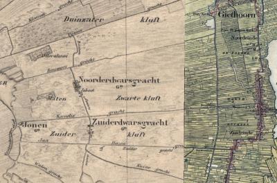 Op kaarten was de nederzetting Dwarsgracht tot ca. 1930 expliciet verdeeld in de delen Noorderdwarsgracht en Zuiderdwarsgracht (in diverse spellingen). De vier dwarsgrachten van de nederzetting en de gelijknamige gracht zijn hier nog duidelijker te zien.
