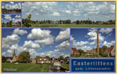 Easterlittens, collage van dorpsgezichten, met onderin de twee prominente 'landmarks' van het dorp, waarover je alles kunt lezen onder het kopje Bezienswaardigheden. (© Jan Dijkstra, Houten)