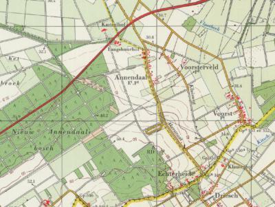 Rond 1900 ontstaat de eerste bebouwing in de huidige buurtschap Echterheide. Deze plaatsnaam verschijnt in de jaren dertig op kaarten, en verdwijnt daar weer van in de jaren tachtig. Ten onrechte, want de buurtschap bestaat nog altijd. (© Kadaster)